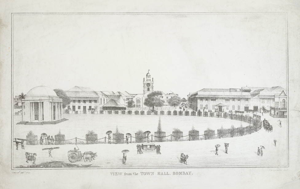 View of Bombay Green from the Town Hall, with the rotunda housing the statue of the Marquess Cornwallis, St. Thomas's and Church Gate.